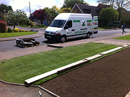 Turf laying brilliant lawn van. Fresh green turf